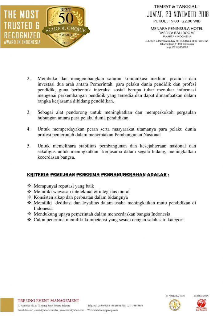 Kriteria pemilihan education 2018-2